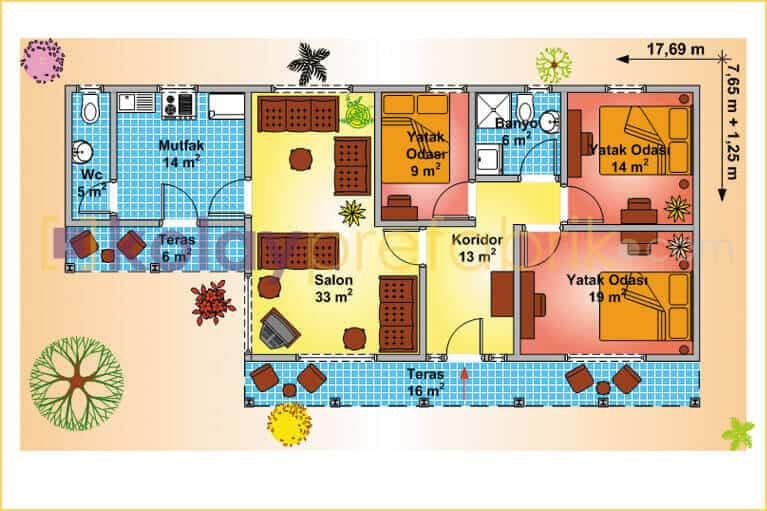 138-m2-one-story-prefabricated-house-P138B-01T-floor-plan