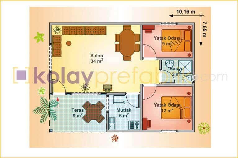 78-m2-one-story-prefabricated-house-P78B-01T-floor-plan